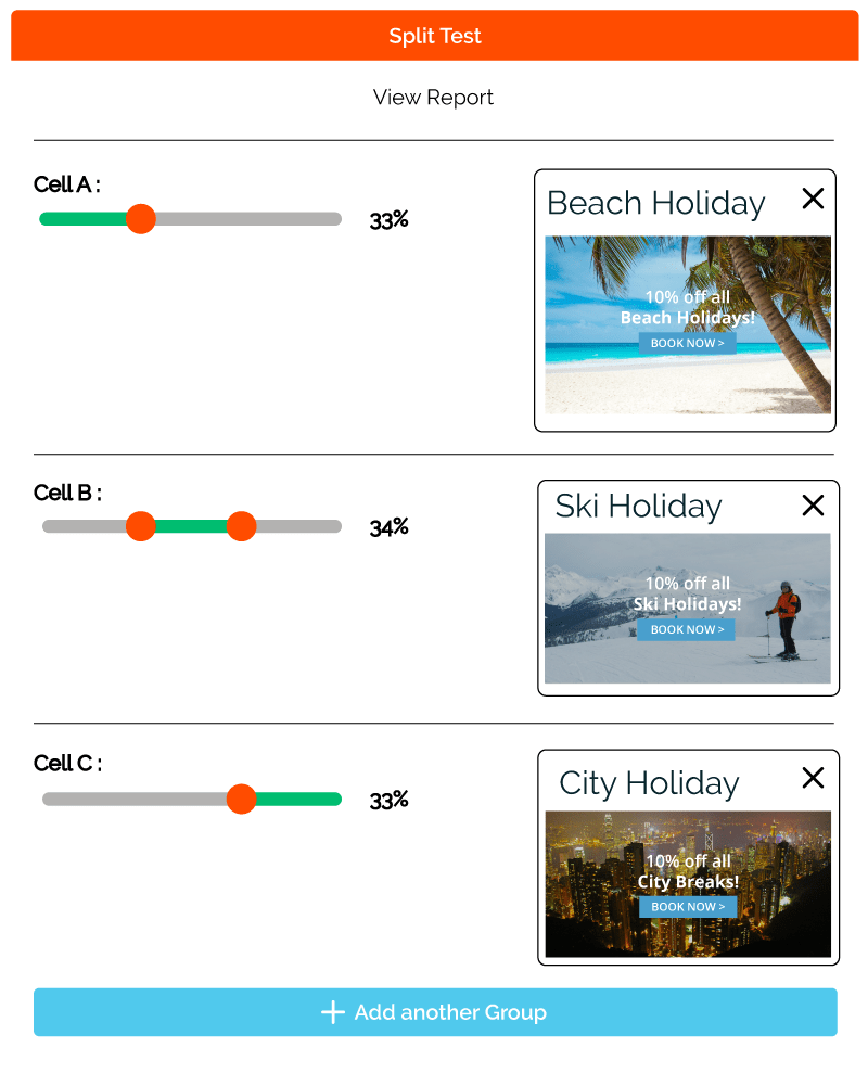 Travel Split Testing Feature