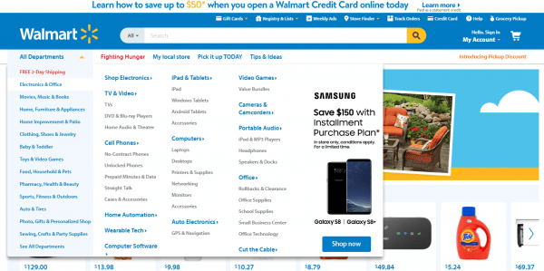 Walmart Product Offer in navigation bar