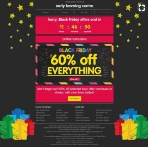 early learning centre black friday email marketing client example