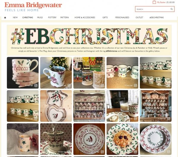 Emma Bridgewater Website Personalization Christmas Theme Instagram