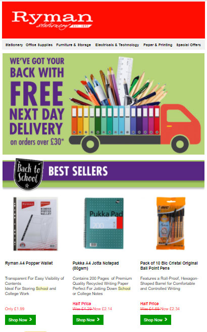 Ryman Stationary back to school email campaign