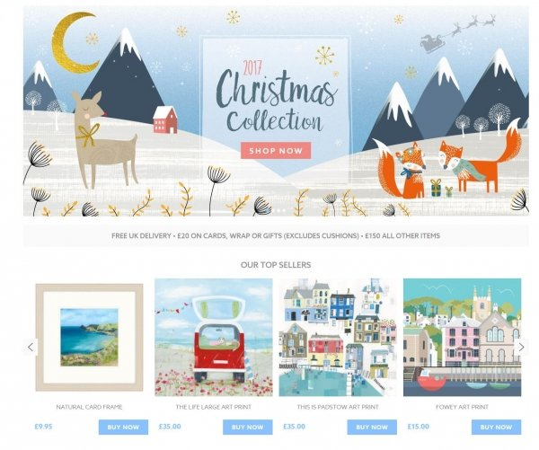 Whistlefish Christmas website homepage product recommendations