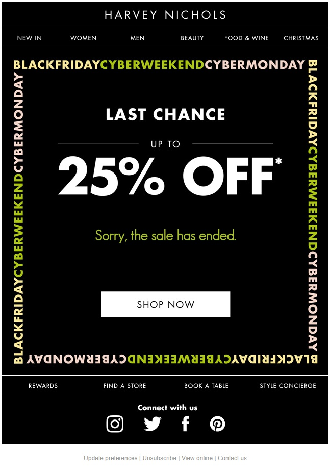 Black Friday dynamic countdown clock in ecommerce email