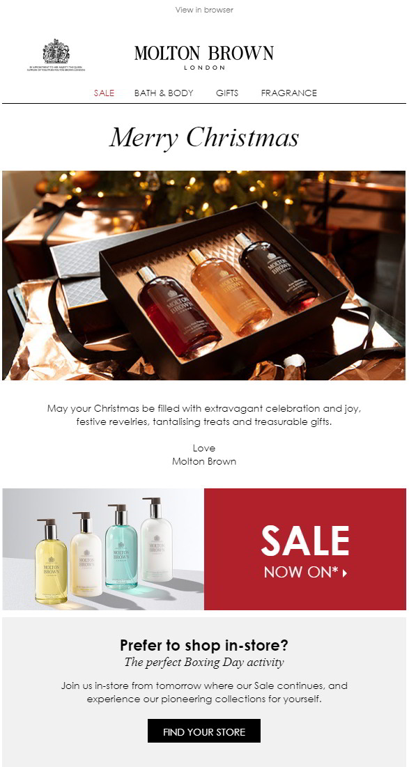 Boxing Day sales promotional email including store locator