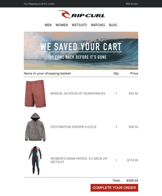 Rip Curl boosted sales with a cart abandonment email campaign