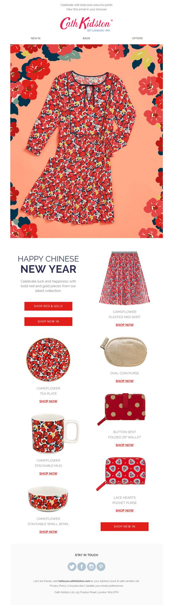 Red and gold color scheme lunar new year email