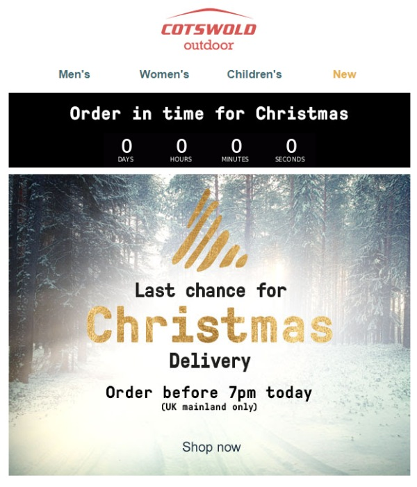 Animated countdown timer in marketing email promoting Christmas sales