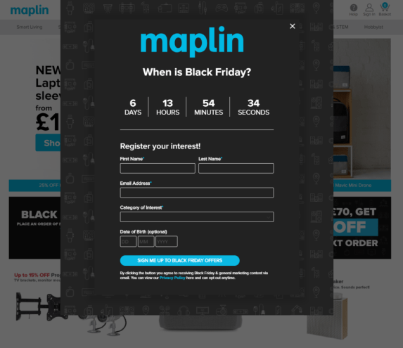 Black Friday email acquisition ecommerce popover or popup example