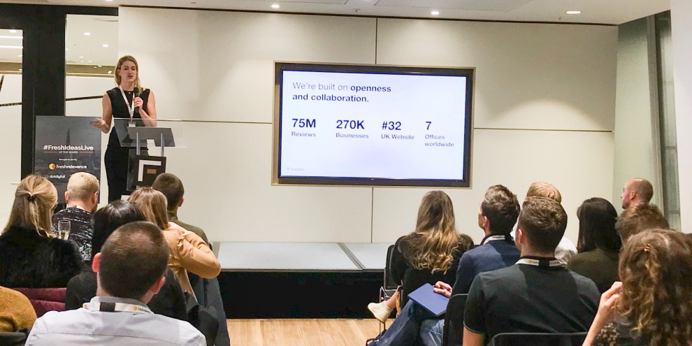 Trustpilot's Ffion Thomson presents on social proof at Fresh Relevance Fresh Ideas Live at The Shard event