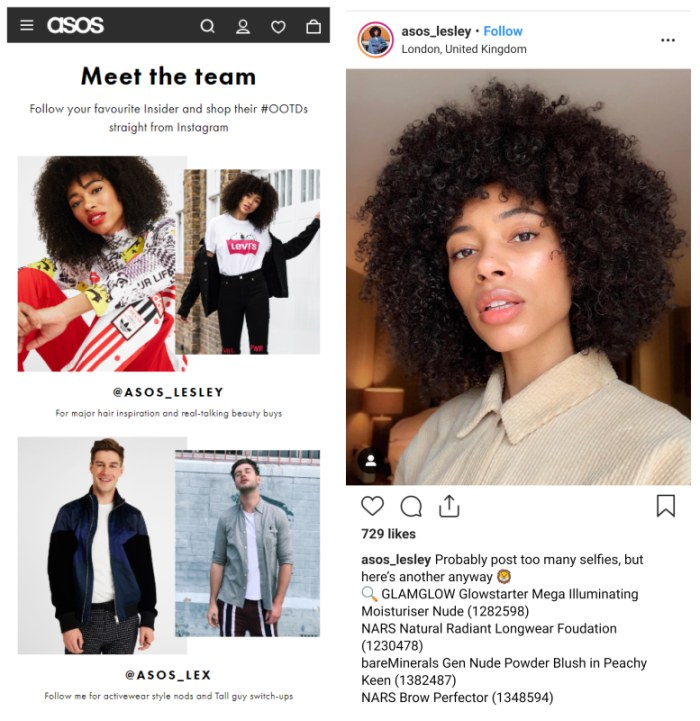 Influencer marketing example on website and instagram, from ASOS