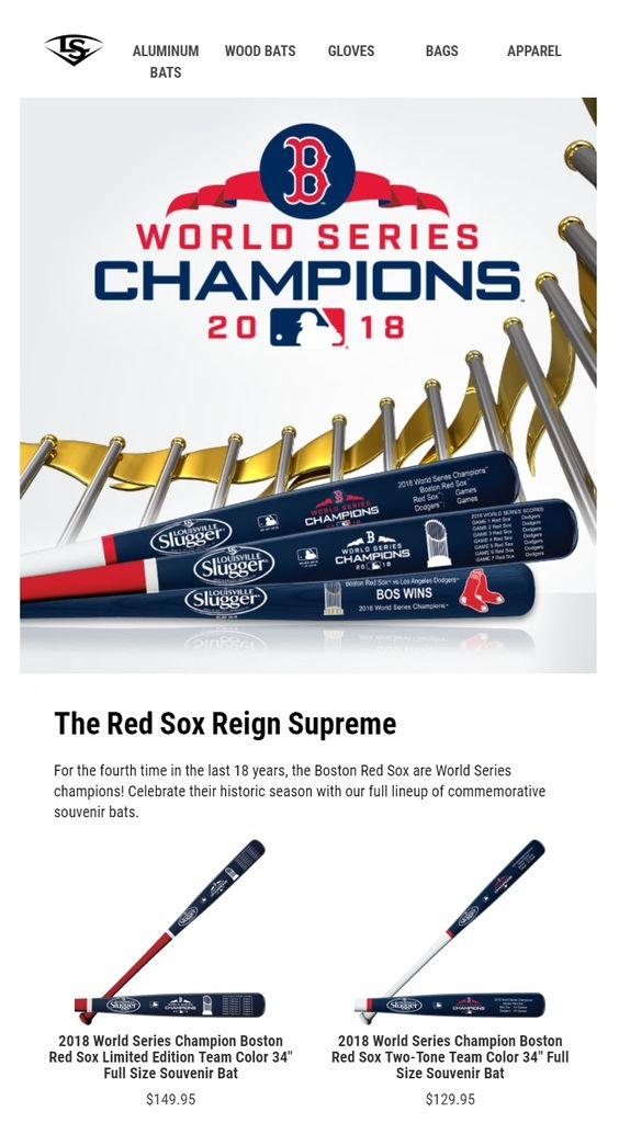Sporting event email campaign example with product recommendations