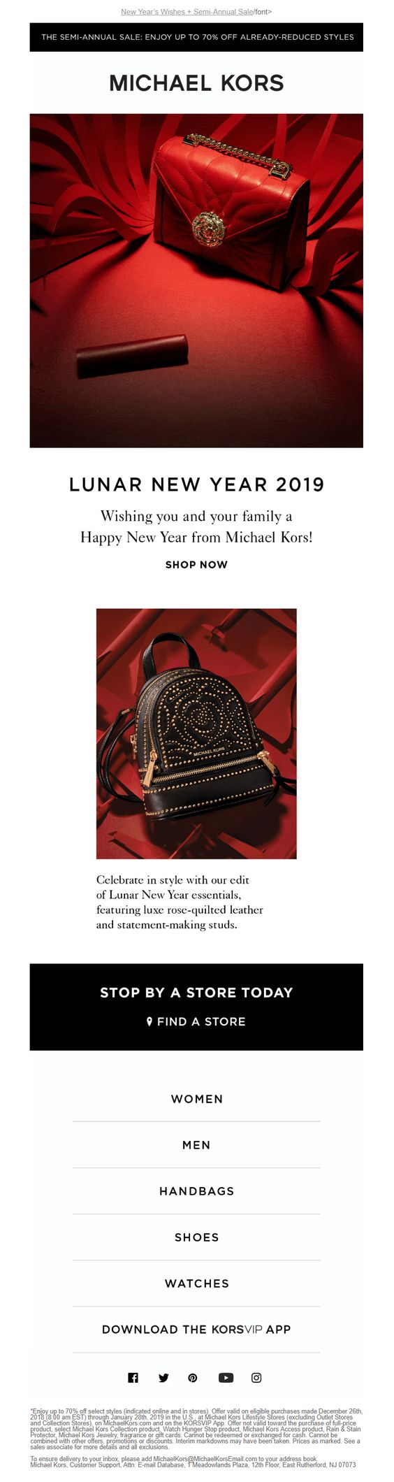 Designer fashion Chinese New Year email example