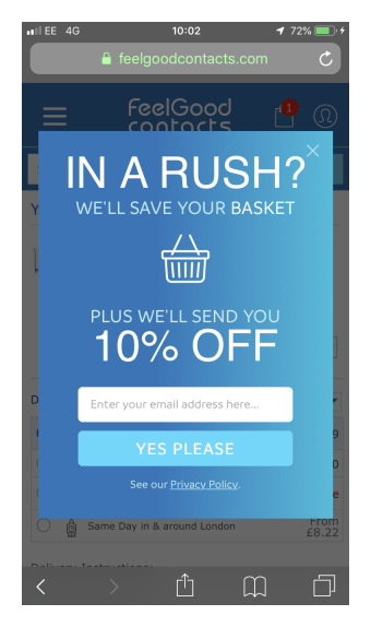 Cart abandonment exit intent popover for ecommerce