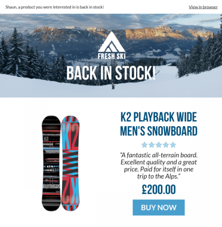 Send back in stock emails to re-engage customers