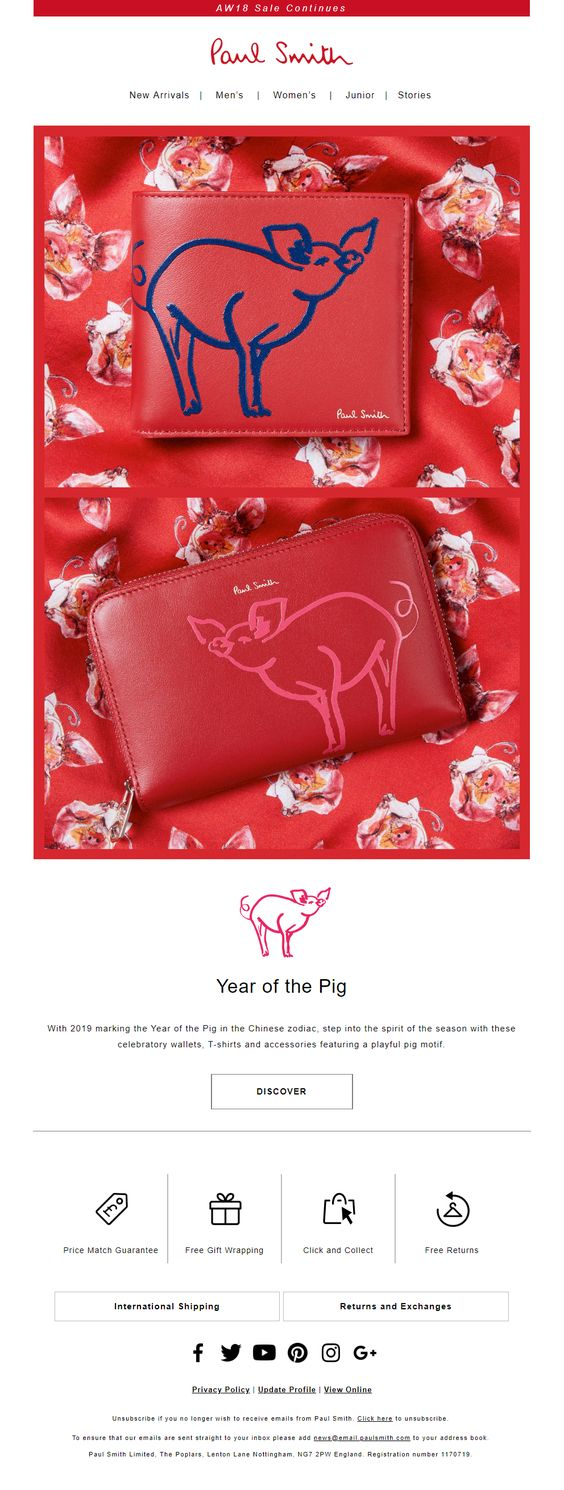 Chinese Lunar New Year promotional email example