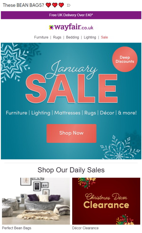 Personalized January Sales email based on browsing behavior