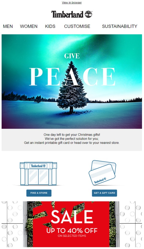 Christmas marketing email example promoting last minute gifts