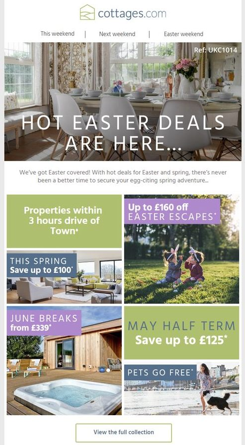 Easter email marketing travel campaign example