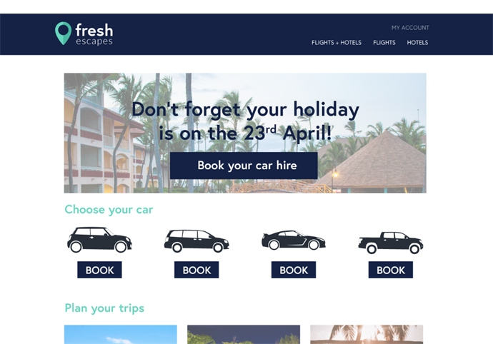 Travel websites can personalize homepage banners based on the date