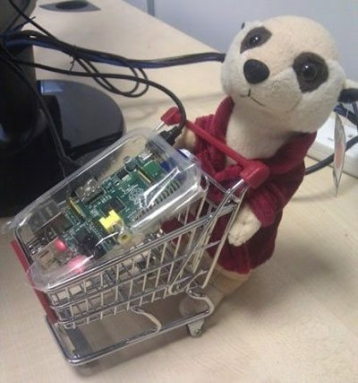 Raspberry Pi in a shopping Cart, pushed by Sergei