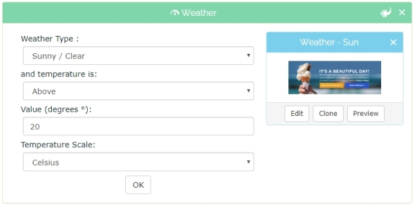 Show weather-related product recommendations based on the weather for the location of your customers