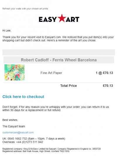 Cart abandon email example easyart