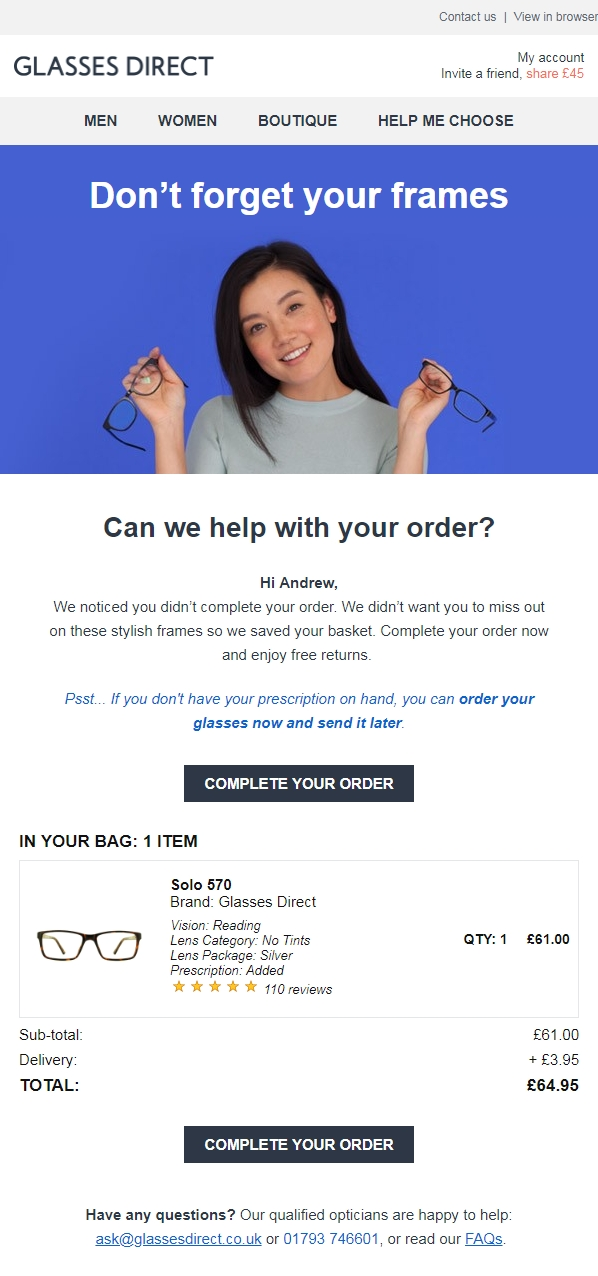 Shopping cart abandonment email example from Glasses Direct, including social proof