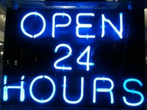 neon open 24hrs sign