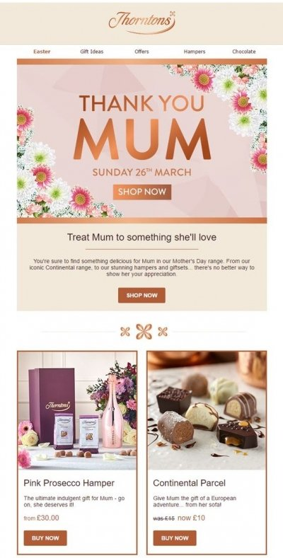 Thorntons Product Recommendations Mother's Day email example